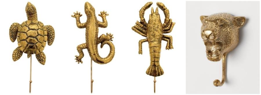 Złote dodatki - wieszaki na ubrania: żółw, jaszczurka, rak, gepard.