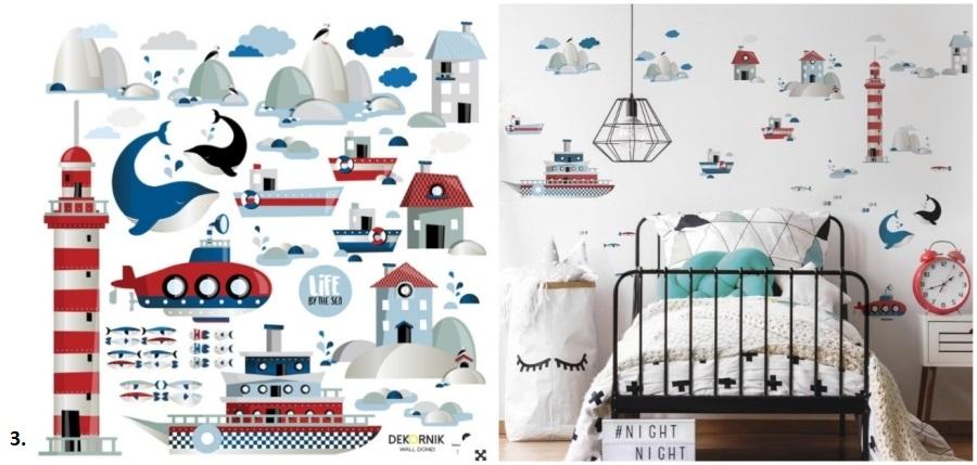 Naklejki ścienne w morskim stylu: latarnia morska, statki, ryby.