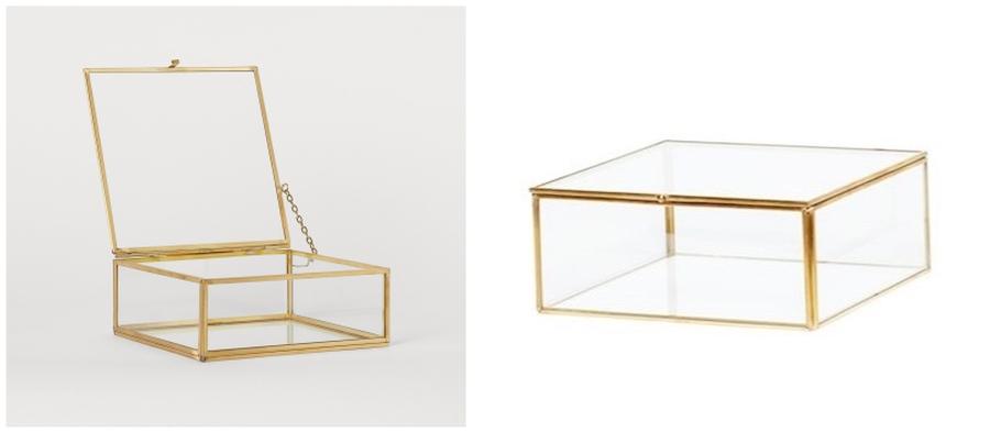 Szkatułka szklana ze złotymi krawędziami.