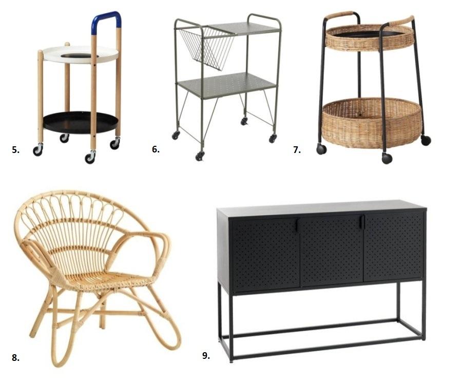 Nowości Ikea oraz Jysk: stoliki na kółkach, krzesło rattanowe i kredens.