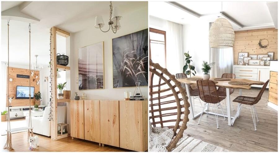 Drewniana ściana w salonie - przykładowe aranżacje.