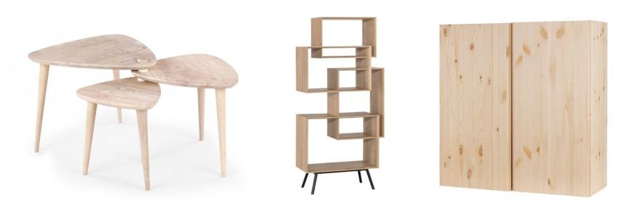 Drewniany stół Homla, regał Ribbon Vox i szafa Ivar Ikea.