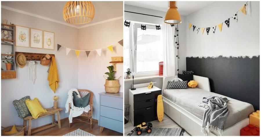 Pokój dziecka z żółtymi dekoracjami.