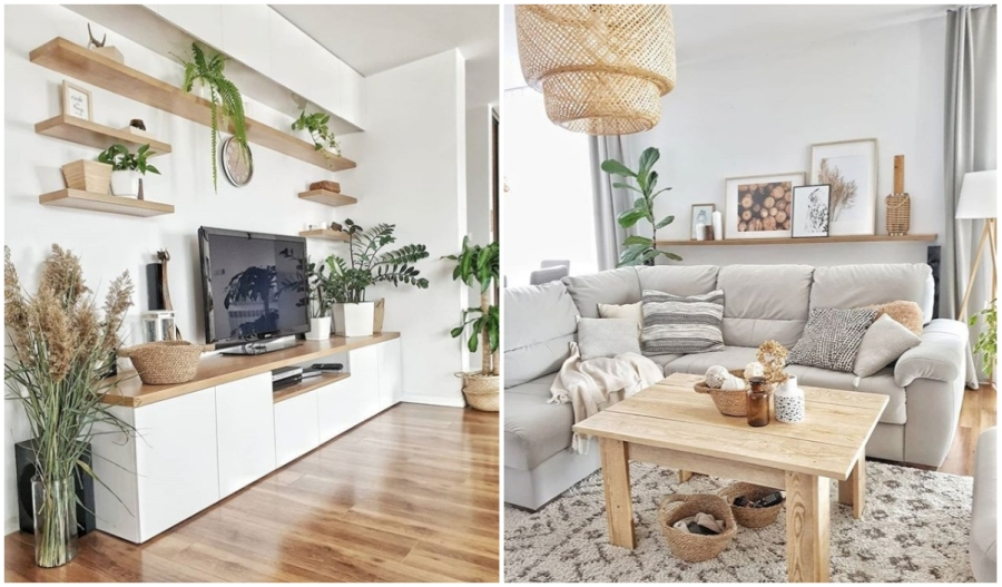 Biało-beżowy salon z drewnianymi meblami i dekoracjami.