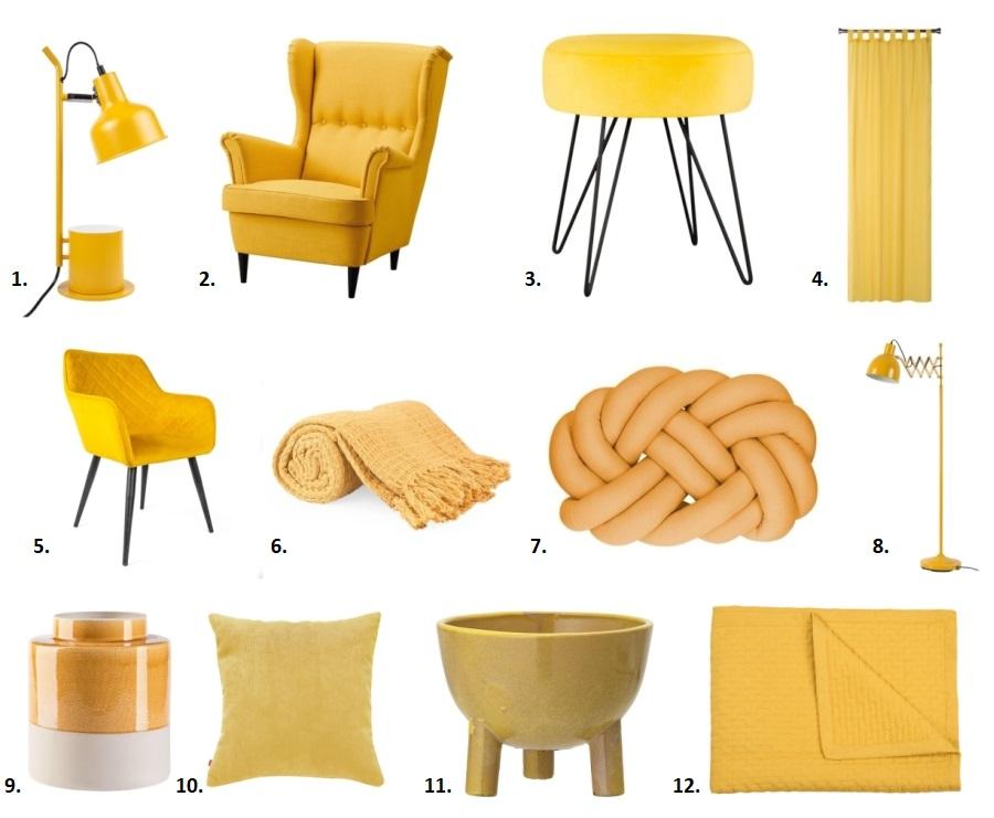 Żółte dodatki do domu: meble, dekoracje, tekstylia.