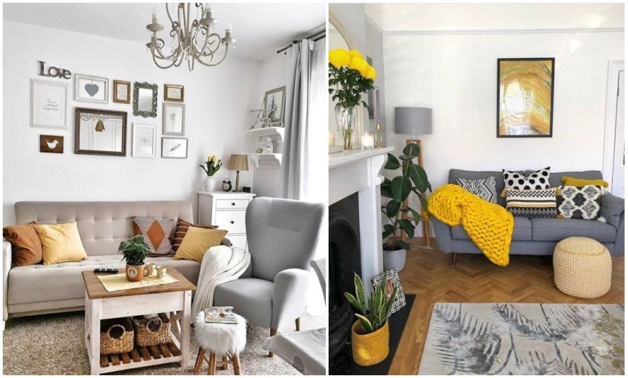 Żółte poduszki, koce, serweta, obraz - dodatki do salonu.