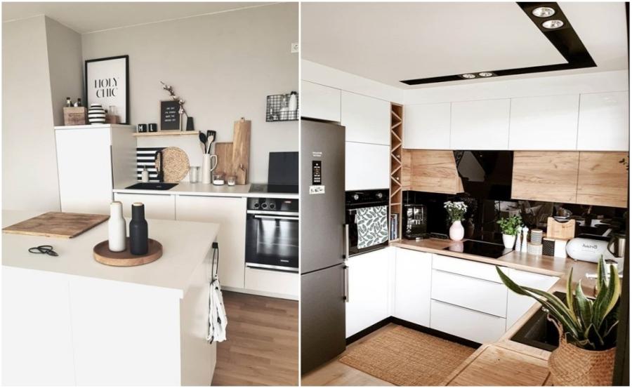 Biało-czarna kuchnia z drewnianymi dodatkami.