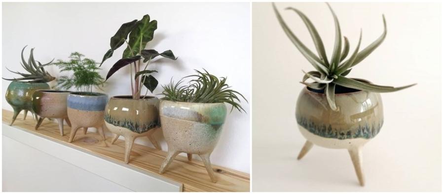 Ceramiczne doniczki na nóżkach od Ochra Ceramika.