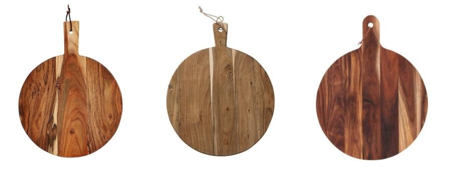 Okrągła deska drewniana do krojenia i serwowania - modna deska do kuchni.