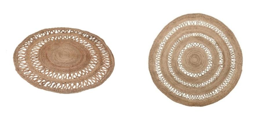 Okrągły dywan z trawy morskiej lub z juty do domu lub na taras.