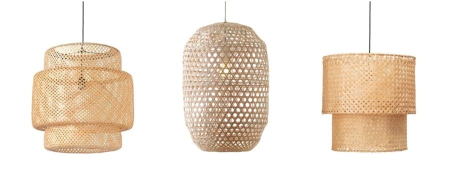 Modna lampa bambusowa w stylu boho.