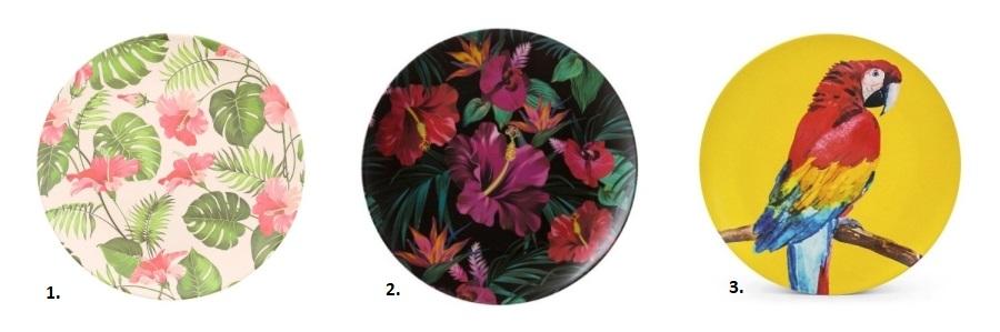 Talerze bambusowe w kwiaty oraz z motywem papugi.